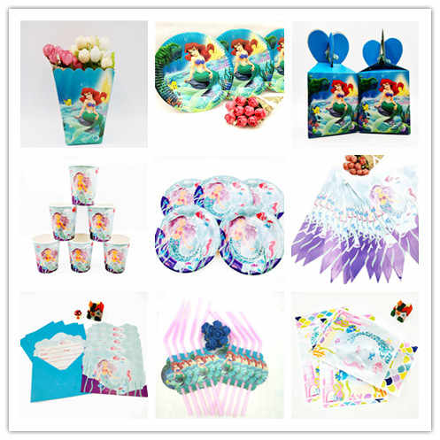 the little Mermaid Ariel Baby Favor kids Birthday Decoration Party Supplies Baby Shower Kids Sets Tableware Birthday party