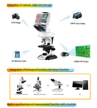 """On sale Best Sale ,CE ISO  9"""" Digital LCD  microscope with 12M Pixel 4x, 10x, 40x, 100x objective   ,Top quality  for  Education Field"""