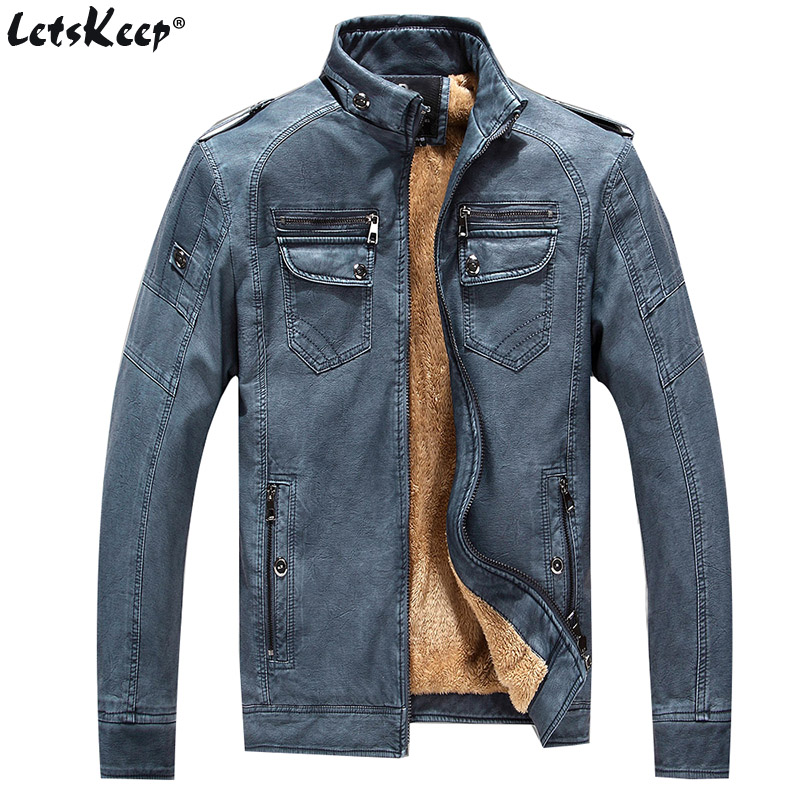 Letskeep 2017 winter PU leather jacket men vintage thick motorcycle coats mens thermal fleece male leather jacket soft MA408 fleece graphic embroidered pu leather jacket