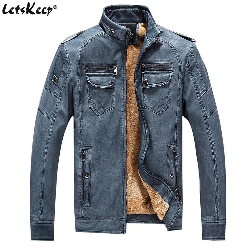 Letskeep inverno PU giacca in pelle da uomo vintage spessa moto - Abbigliamento da uomo