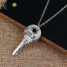 Colgante de collar de Sherlock, llave a 221B, novedad de películas, joyería, tipo de Llave de bronce, superventas, 221