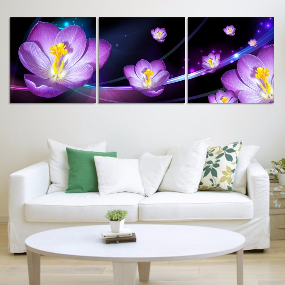 Modern Home Decor Bright Purple Wall Art Boho By: Unframed Modern Blooming Purple Flower 3 Piece Painting On
