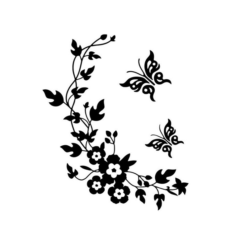 High Quality Black Flower Refrigerator Wallpaper Butterfly Pattern Wall Stickers Home Decor