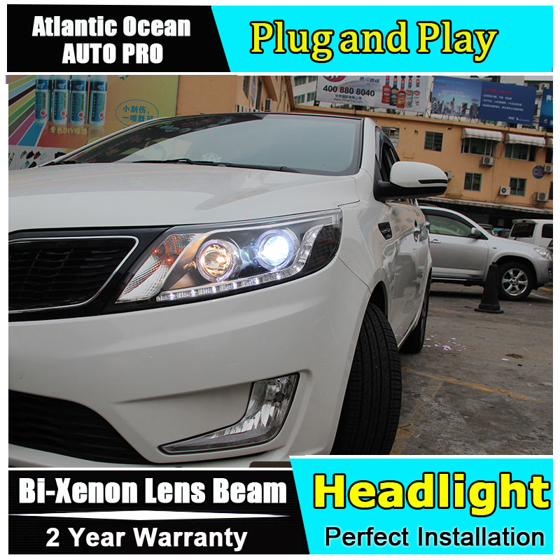 Car Styling LED Head Lamp for Kia K2 headlights Rio LED Headlight Automobile angel eye led drl HID KIT Bi-Xenon Lens low beam headlight for kia k2 rio 2015 including angel eye demon eye drl turn light projector lens hid high low beam assembly