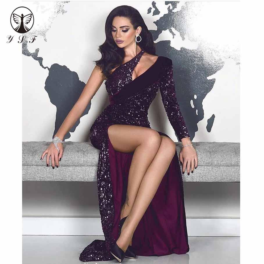 Sexy Purple Vestidos De Fiesta One Shoulder Cut-out Neck Long Sleeve Bling Bling Sequin Lace Thigh Floor Length Evening Dress