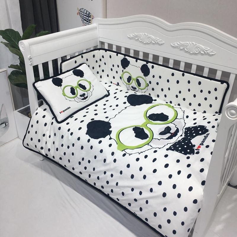 4 шт. Комплект постельного белья бампер фланелевый мультфильм шаблон одеяло для новорожденных крышка простыня наволочка детская кроватка бампер Детский Комплект постельного белья - 2