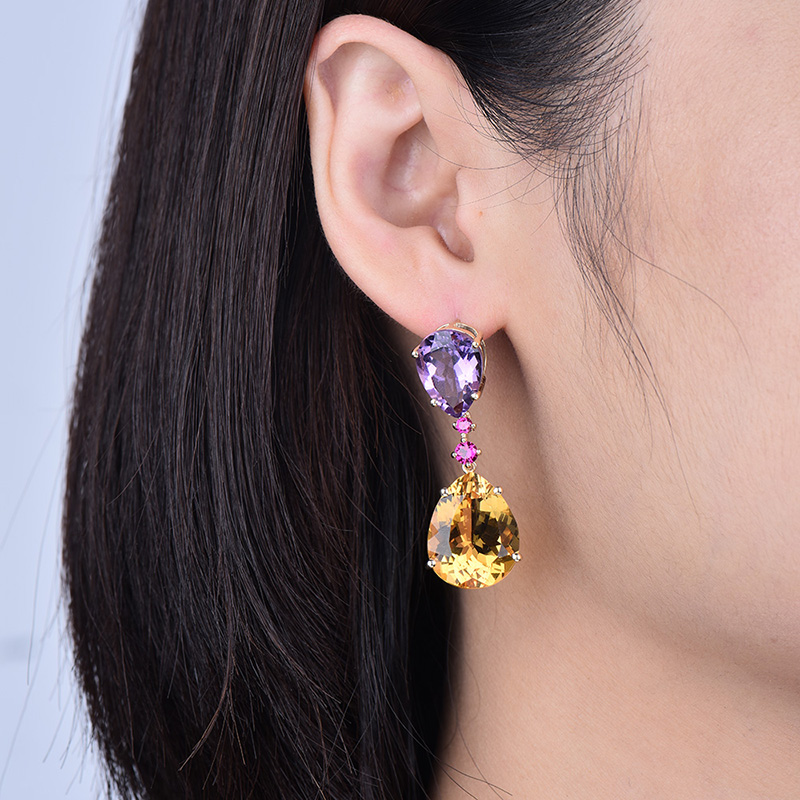 LOVERJEWELRY Drop Earrings Solid 14KT Yellow Gold Natural Amethyst Citrine Gemstones Engagement Earrings For Women Jewelry Gift