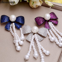choucong Luxury Tassels bowknot brooches Micro Pave AAAAA cz White Gold Filled Party Wedding brooches for women jewelry Gift