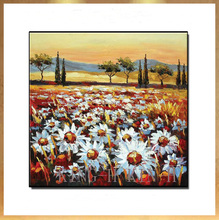 Selling hand-painted oil painting scenery landscape pastoral sunflowers flowers rural porch gules sofa hall no framework