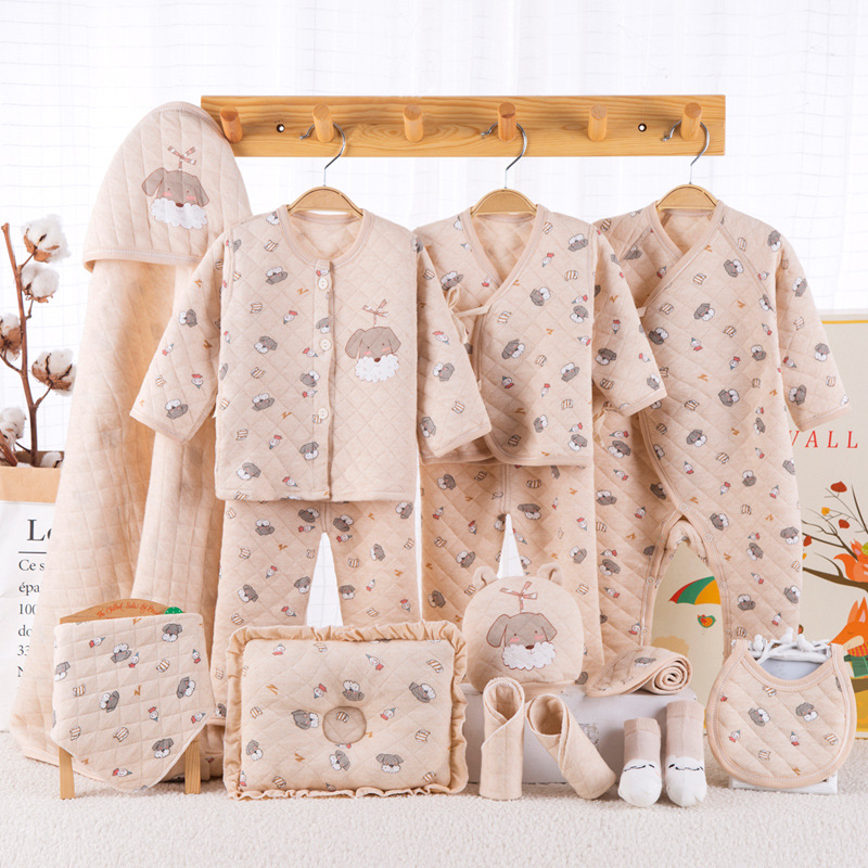 Thick cotton 15pcs/set New born underwear clothes sets with baby blanket and pillow High quality newborn baby clothing gift set cotton 10 piece sets newborn clothes gift box spring and autumn new born baby suit mother and baby full moon kids gift clothes