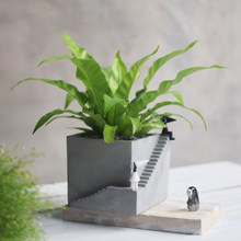 Succulent Plants Silicone Concrete Mold Stairs Square Shape Flowerpot Cement Clay Mould Mini Pot Gypsum Plaster Crafts Molds(China)