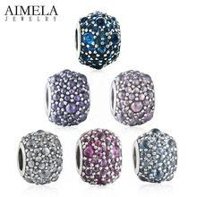 AIMELA Seis Colores Brillantes Gotas de Cristal Granos de la Bola de 925 Encantos de Plata Esterlina Para Las Mujeres Pulseras Joyería de DIY Que Hace