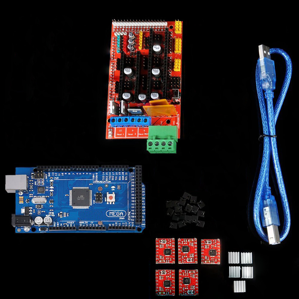 Mega 2560 R3 for arduino + RAMPS 1.4 Controller + 5 pcs A4988 Stepper  Driver Module Heat Sink 3D Printer kit Reprap MendelPrusaMega 2560 R3 for arduino + RAMPS 1.4 Controller + 5 pcs A4988 Stepper  Driver Module Heat Sink 3D Printer kit Reprap MendelPrusa