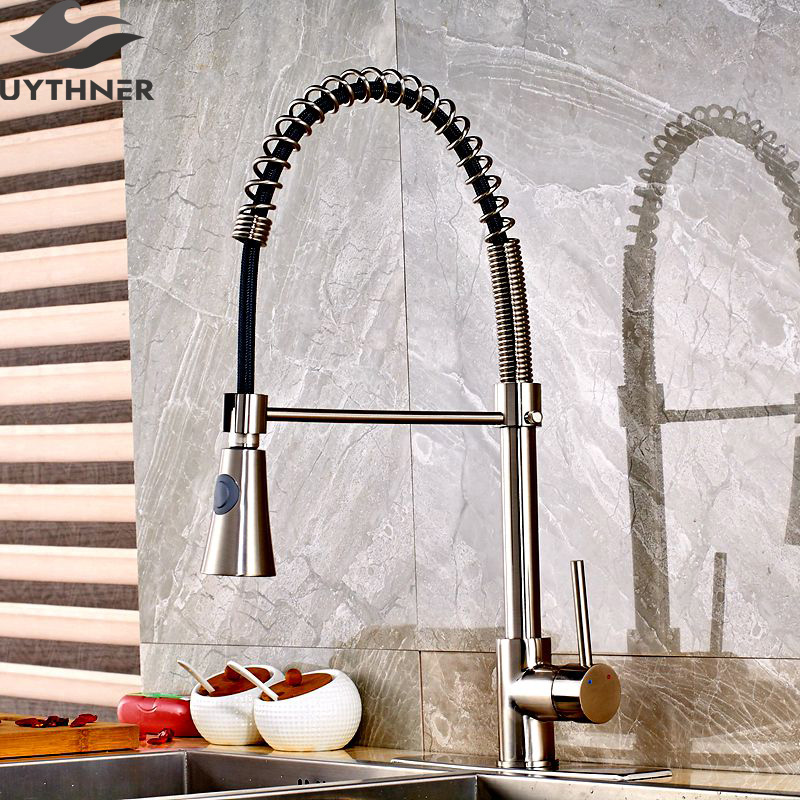 Фотография Uythner Brushed Nickle Horn Shape Hand Spray Kitchen Faucet Mixer Tap With Square Plate Deck Mounted
