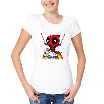 Camiseta casual con estampado de caballo de Deadpool, camisetas con cuello redondo para mujer, camisetas de moda para chica, camiseta de manga corta