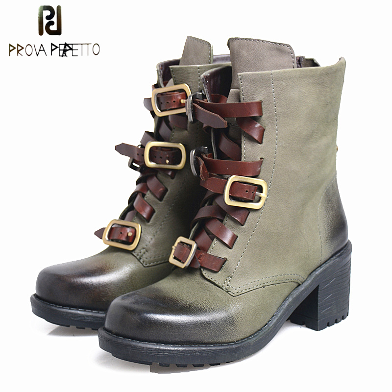 Prova Perfetto Genuine Leather Round Toe Women Martin Short Boots Square High Heel Belt Buckel Do Old Motorcycle Boots Mujer prova perfetto autumn winter new genuine leather low heel women mid calf boots round toe thick bottom comfortable martin boots
