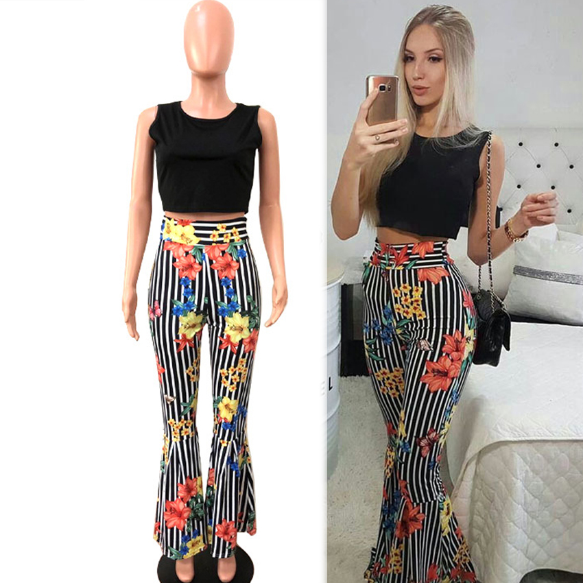 Striped 2 Piece Outfits for Women Fashion Co ord Designer Festival Clothing Matching Floral Print 2019 Summer Top Pant Suits in Women 39 s Sets from Women 39 s Clothing