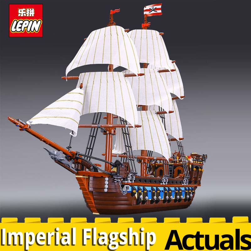 LEPIN 22001 Pirate Ship warships Model Building Blocks bricks Gift Compatible legoingly 10210 Educational Toys for Children set lepin 16009 queen anne s revenge 22001 imperial warships model building blocks for children pirates toys clone 4195 10210