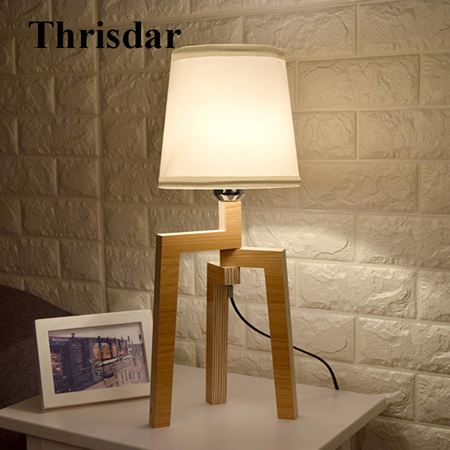 Thrisdar DIY Nordic Wooden Table Lamp With E27 Bulb Creative Linen Cloth Bedroom Bedside Desk Light Hotel Restuarant Table Lamps