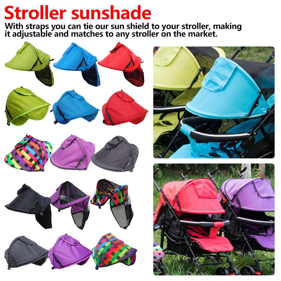 Mother Multi-purpose Warm Windproof Sunshade Cover Baby Stroller Windproof Parts Stroller Colorful Sunscreen Hood