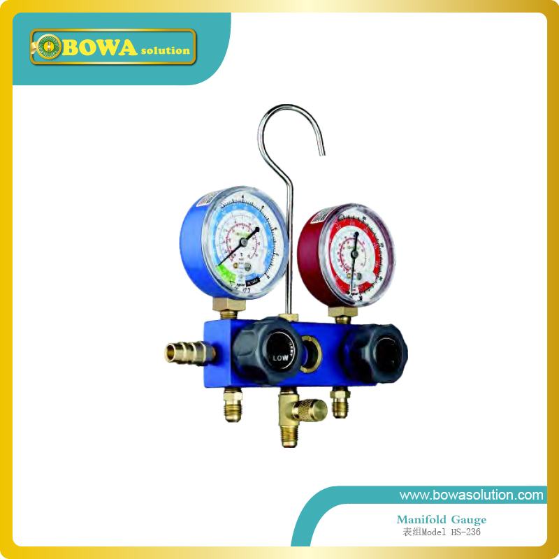 R134a R22, R12 and R404a manifold Gauge set with aluminium alloy valve body for seafood machine repair