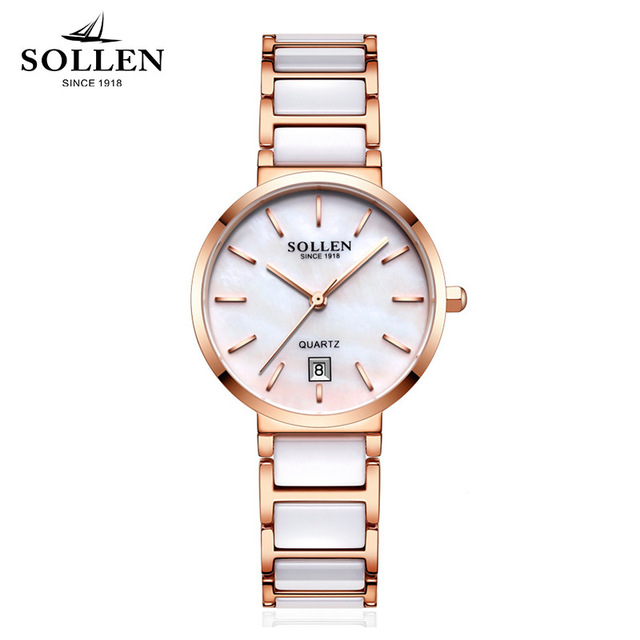 Brand SOLLEN 2017 Ladies luxury Fashion Ceramic Watch Women Stainless steel ceramics bracelet quartz Wrist Watch orologi donna onlyou brand luxury fashion watches women men quartz watch high quality stainless steel wristwatches ladies dress watch 8892