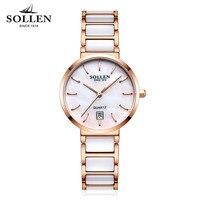 Brand SOLLEN 2017 Ladies luxury Fashion Ceramic Watch Women Stainless steel ceramics bracelet quartz Wrist Watch orologi donna Women's Wristwatches