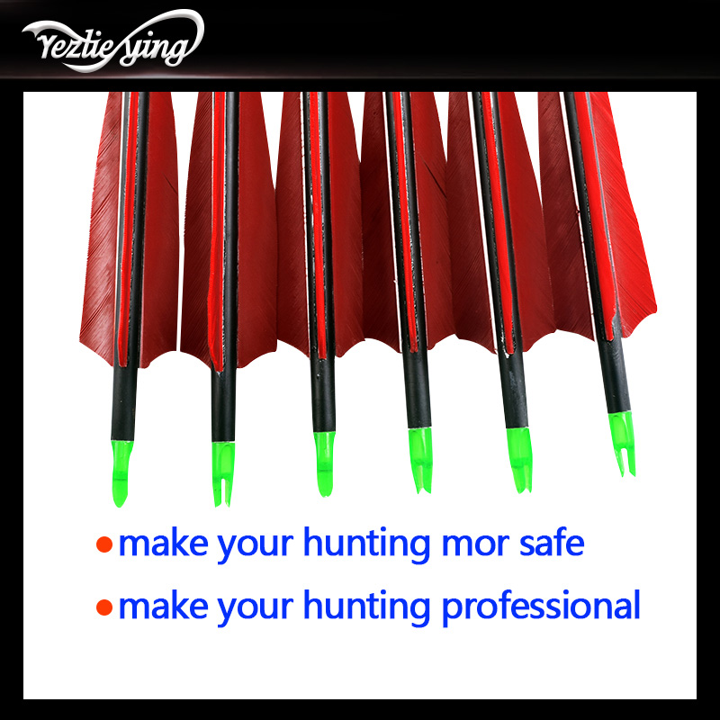 Image 3 - 6PCS Crossbow Hunting 30Inch Spine500 Carbon Arrow Red Turkish True Feathers for Recurve bow Hunting Archery-in Bow & Arrow from Sports & Entertainment