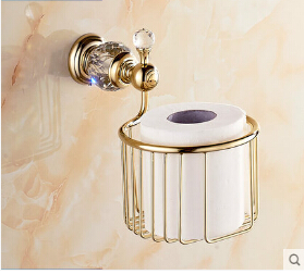 Wall Mounted Brass & Diamond Bathroom Accessories Toilet Paper Holder bathroom tissue box toilet roll holder diamond ceramic base golden brass bathroom toilet paper holder wall mounted