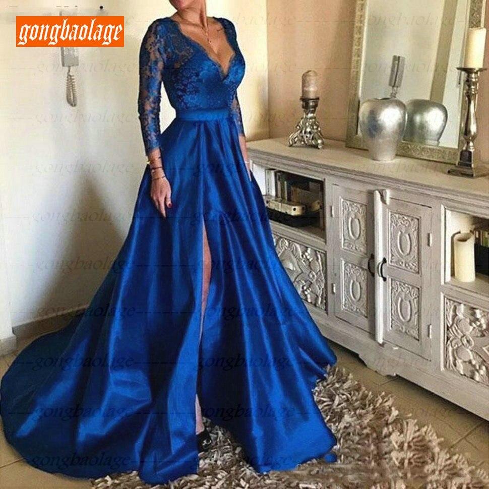 Fashion Royal Blue Lace Deep V Neck Evening Gowns Long Sleeves Satin A Line Evening Dresses Slim Fit 2019 Side Slit Formal Dress