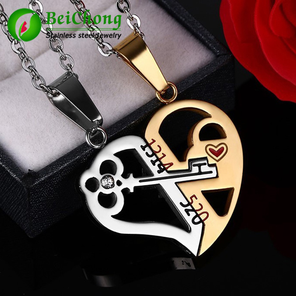 (10 pièces/lot) clé & serrure collier pendentif 1314520 Couple amoureux bijoux de mariage en acier inoxydable Couple coeur pendentif collier