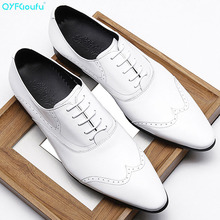 QYFCIOUFU New Arrivals Handmade Mens Dress Shoes Genuine Leather Brogue High Quality Italian Wedding Men Oxford