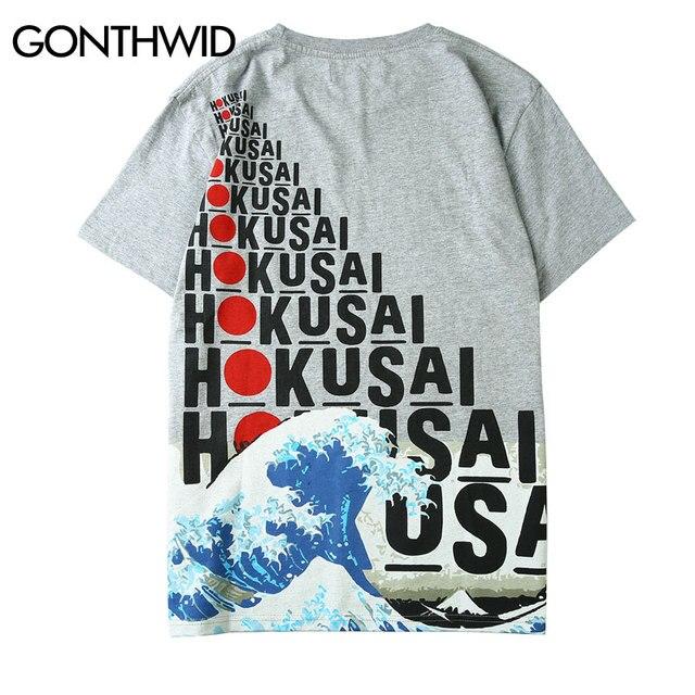 Gonthwid японский Стиль волны печатных футболки мужские Харадзюку 2018 Лето Повседневное короткий рукав футболки уличная мода T Рубашки для мальчиков