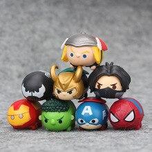 8 unids/set pequeno Tsum Mini Marvel vengadores final Hombre Arana de hierro hombre Hulk Capitan America Loki PVC fig