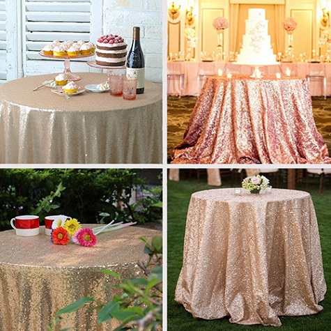 50 Inch Round Sequin Table Cloth For Wedding Event Party Banquet Desk  Decor(China (