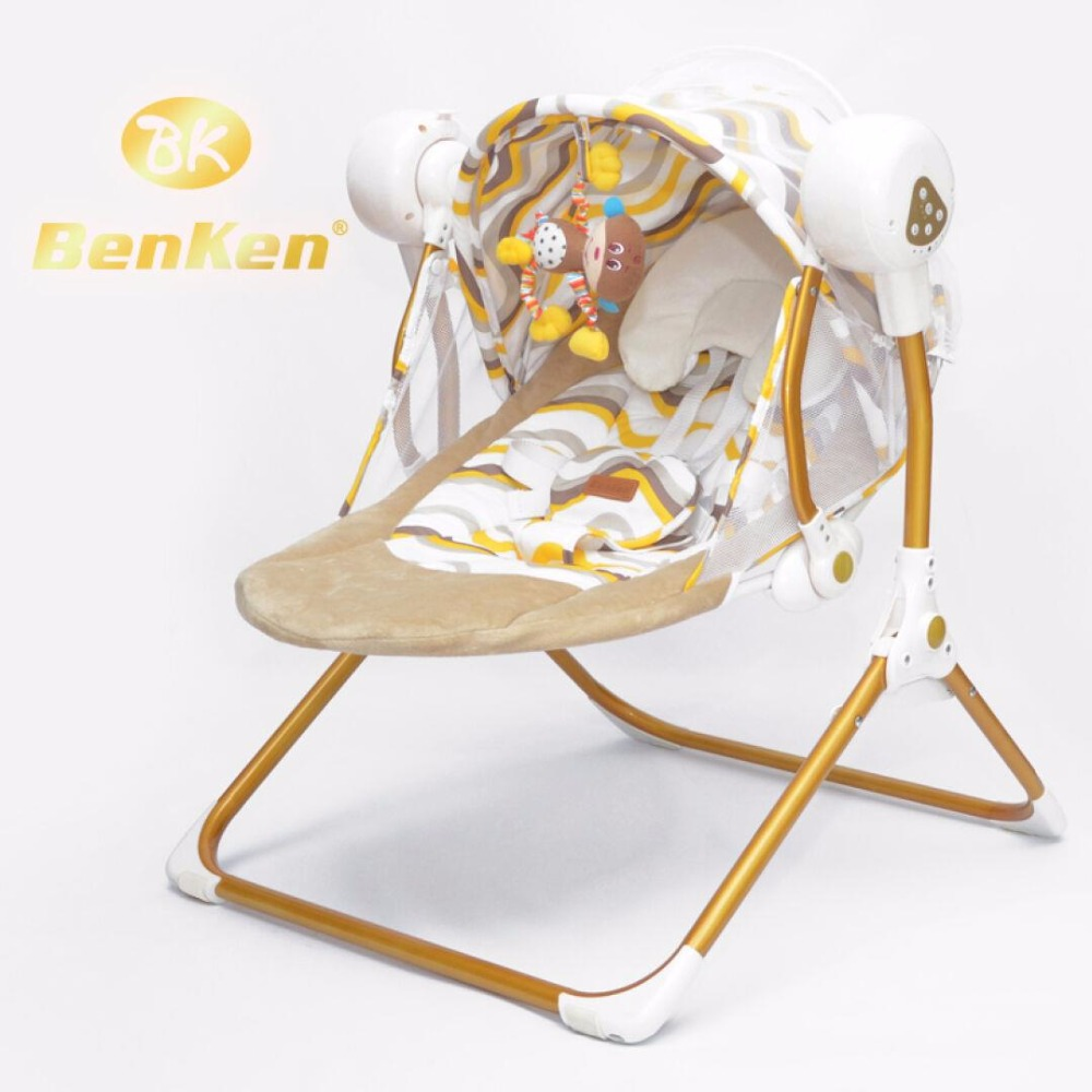 Benken Auto-swing  electric baby swing music rocking chair automatic cradle baby sleeping basket placarders chaise lounge 2017 new limited brand cradle electric baby swing music rocking chair automatic sleeping basket golden frame 8gb bluetooth usb