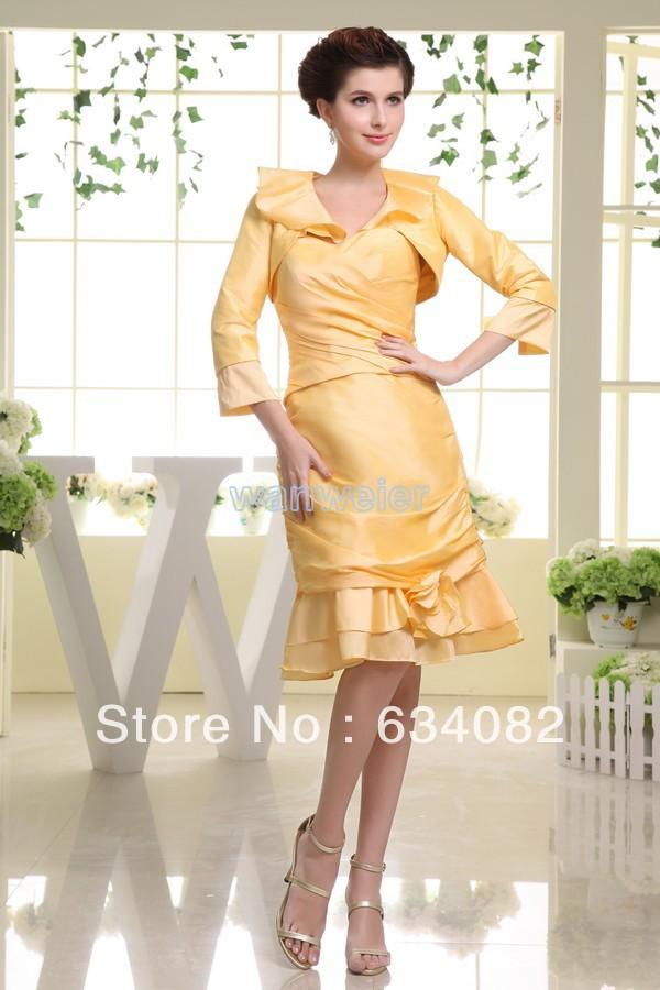 8b7bf68430c free shipping 2013 yellow taffeta plus size short knee-Length modest unique  classy black jacket dress Mother of the Bride Dress