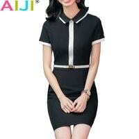 Summer Autumn Formal Wear Women Dress OL Fashion Elegant Plus Size Work Slim Patchwork Short Sleeve