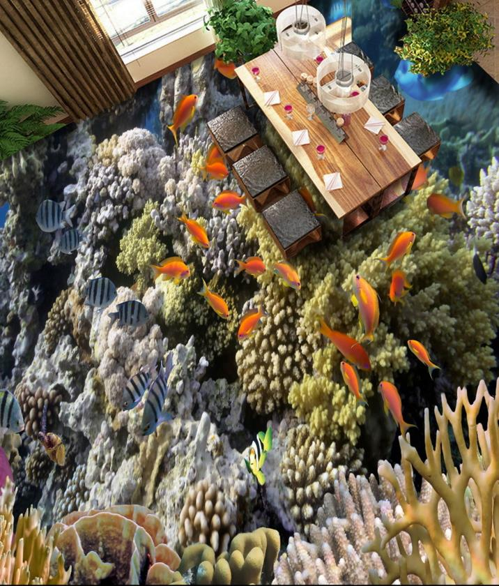 3d floor vinyl coral reef plants Custom sticker 3d floor murals tropical fish self-adhesive waterproof pvc wallpaper free shipping hd 3d stereo coral reef tropical fish bathroom bedroom floor painting wallpaper self adhesive floor mural