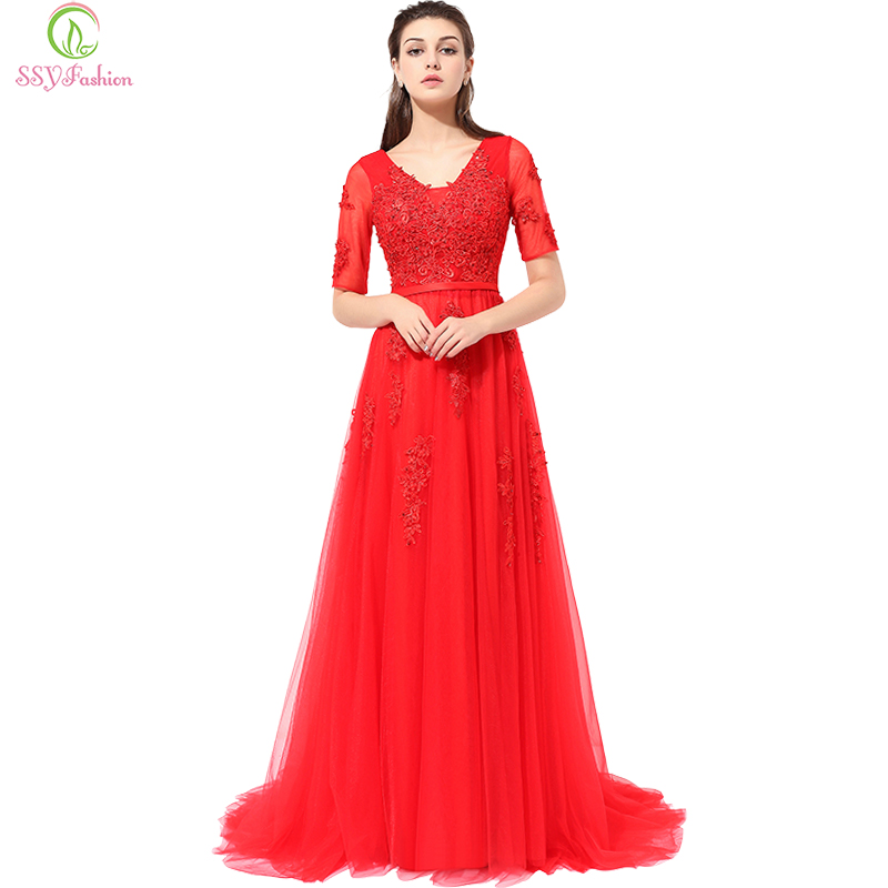 Ssyfashion Long Sleeve Wedding Dresses The Bride Elegant: SSYFashion New Half Sleeves V-neck Lace Beading Long