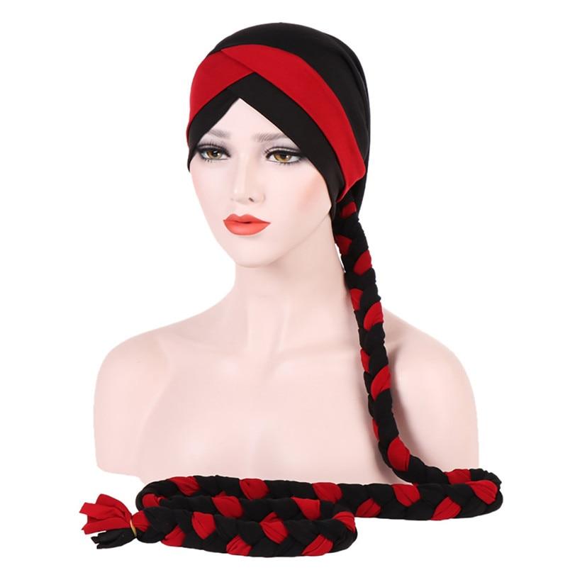 2018 Fashion New Women Hairbraid India Africa Muslim Stretch Turban Cotton Hair Loss Head Scarf Wrap Cap Casual Hot Sale #L26 (22)