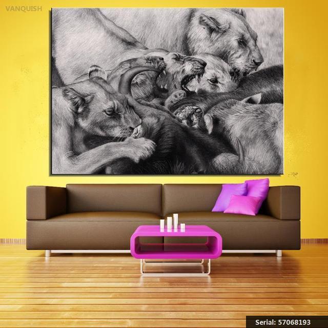 vencer grandes felinos leões animal pintura a óleo clássica pintura