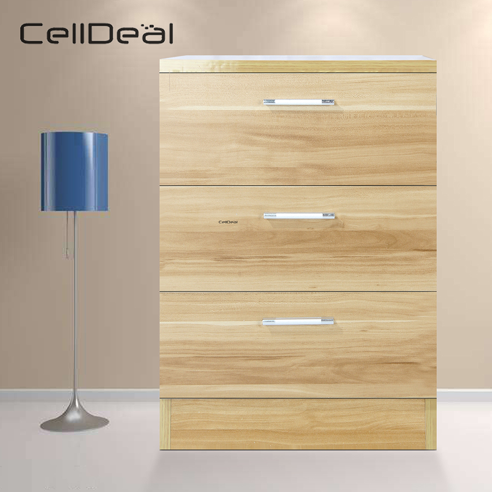 CellDeal Bedroom Furniture Bedside Cabinet Chest of Drawers 3 Drawer with Metal Handles Runner Unique Anti Bowing Drawer Support