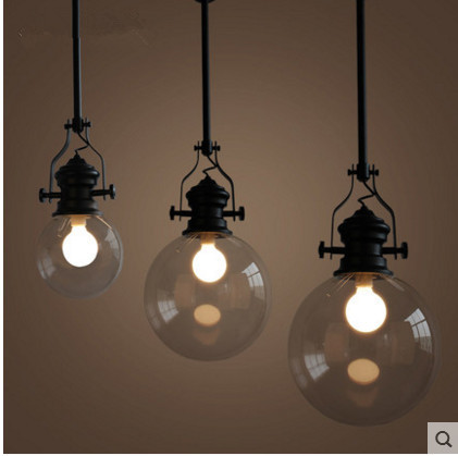 Modern led pendant light American Industrial Vintage Creative Retro Loft Pendant Light Glass Bedside Lamp E27 Indoor lighting iwhd loft style creative retro wheels droplight edison industrial vintage pendant light fixtures iron led hanging lamp lighting