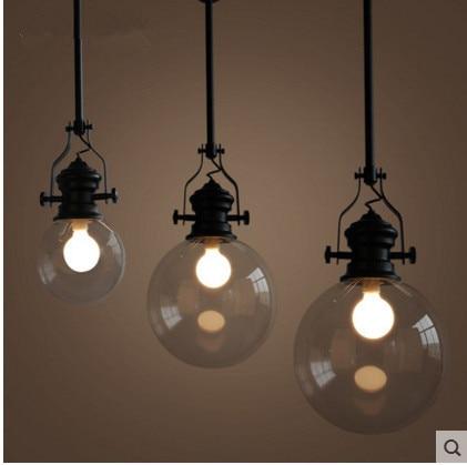 Modern led pendant light American Industrial Vintage Creative Retro Loft Pendant lamp Glass E27 Indoor lighting ZDD0107 тюль