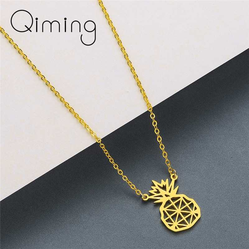 Summer Pineapple Pendant Necklace Women Korean Jewelry Hollow Hawaii Golden Fashion Stainless Steel Necklace Chokers