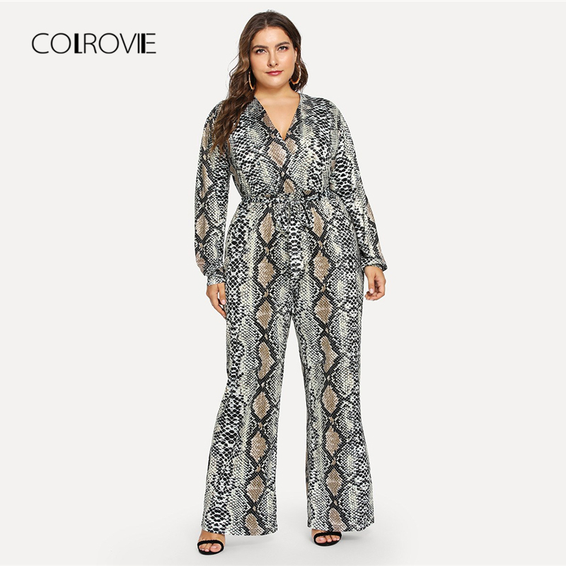 COLROVIE Plus Size Self Tie Snake Print Casual Jumpsuit Women Clothing 2018 Winter Long Sleeve Office Ladies Belted Jumpsuits