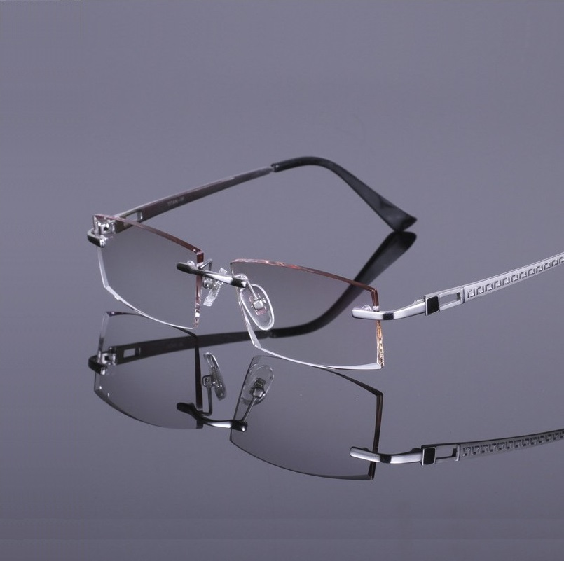 c09bce6d1b 54 18 140 rimless male pure titanium super light R819 men Hard   Multi  coated EMI Defending Coatin lens myopia Finished glasses-in Prescription  Glasses from ...