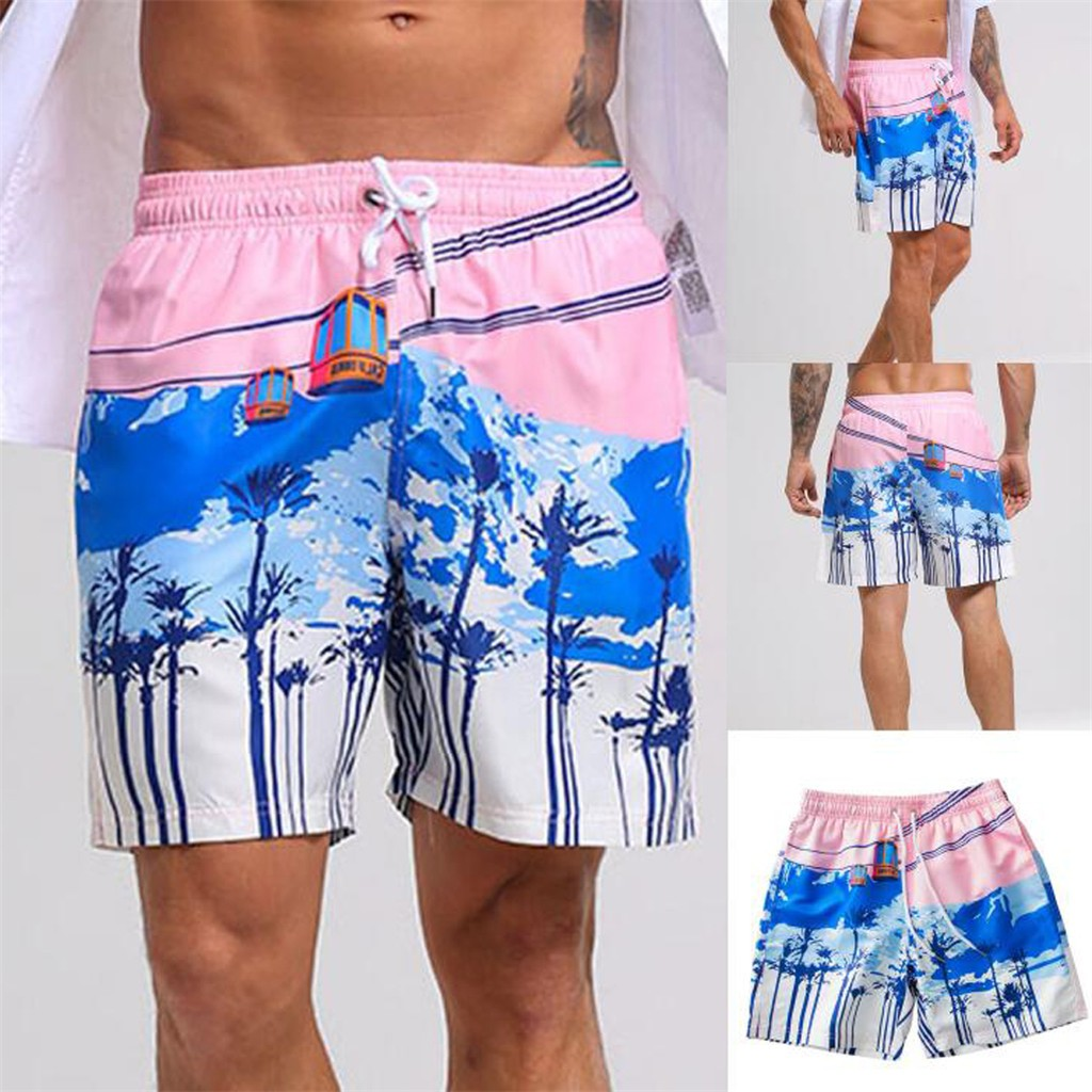 MUQGEW Ropa Hombre   Board     Shorts   Men   Short   Masculino Beach Surfing Running Swimming Quick Dry Swim Trunks Pink M-3XL Size