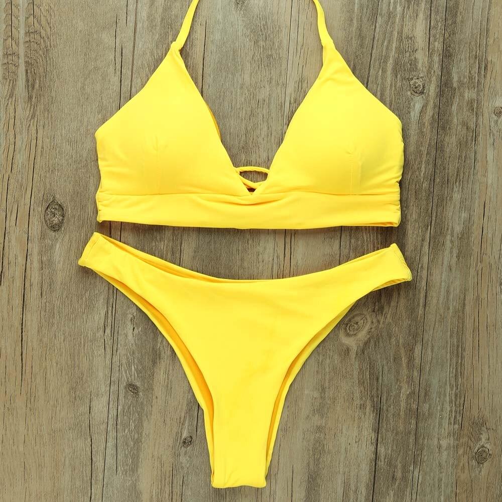 Sexy Thong Bikinis Women 2019 Brazilian Swimsuit Solid Bathing Suit Strape Push Up Swimwear Female Mayo Beach Bathers 2